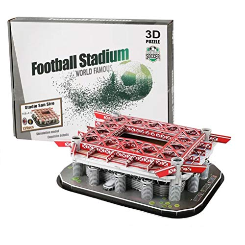 NANUNU Puzzle-Jigsaw Puzzle 3D Football Field Model for Adults and Kid DIY 3D Building Model Bedroom Office Decoration 139Pcs San Siro Stadium