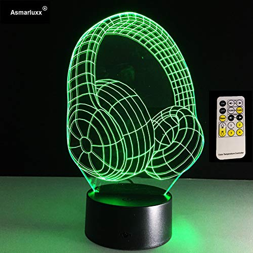 tzxdbh 3D illusie lamp 7 kleuren veranderende acryl LED nachtlampje kunst beste Dj koptelefoon E Illusion Studio Music Monitor headset ful Hifi muziek Earphonetouch tafellamp, kinderkamer, nachtkastje