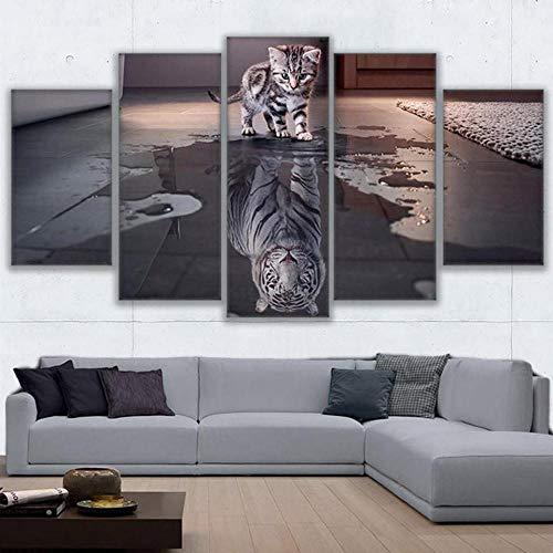 5 Juegos De Pinturas Impresión HD Pintura De Arte De Pared Pintura Moderna Pintura De Decoración del Hogarimpresión De Lienzo XXL Animal Gato New Cuadros Tigre