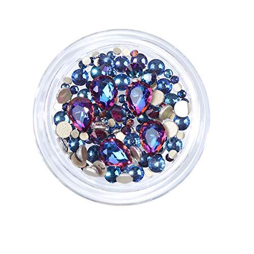 AIUIN 1 doos kristal AB nail art decoratie glitter nagel kralen DIY platte achterkant diamanten ronde platte achterkant edelstenen schoonheid nagel accessoires gereedschap style 2