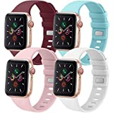 Tobfit 4 Pack Compatible for Apple Watch 38mm 42mm 40mm 44mm Bands, Soft Sport Replacement Watchband for iWatch Series 6 5 4 3 SE (Wine Red/White/Pink/Light Blue, 42mm/44mm S/M)