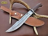Poshland RG-57 Handmade Demascus Steel 15 Inches Bowie Knife - Beutifull Jute Micarta Handle with Demascus Guard & Bolster