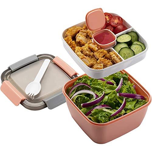 Fiambrera Bento Box para niños con compartimentos y cubiertos, para adultos, sin BPA, 1500 ml, para la escuela, el trabajo, picnic, viajes, apta para microondas y lavavajillas (rosa)