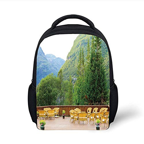 Kids School Backpack Travel Decor,Tables and Chairs of Outdoor Restaurant in Norway Mountains Nature,Green Mustard Brown Plain Bookbag Travel Daypack