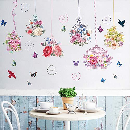 Nicole Knupfer Wandtattoo Blumen Vogelkäfig Wandsticker, Wohnzimmer Schlafzimmer Entfernbare Fenstersticker Wandtattoos Wandbilder
