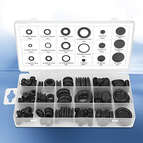 Kit surtido de arandelas de goma de 125 piezas, anillo de junta de conductor eléctrico, 18 tamaños con una funda de transporte para cables, enchufes, automoción, plomería