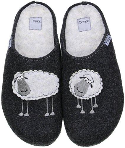 TOFEE Damen Hausschuhe Pantoffeln Naturwollfilz (Schafe) anthrazit, Größe:41, Farbe:Anthrazit