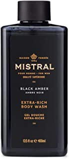 Mistral Men's Black Amber Body & Hair Wash, Black Amber, 13.5 oz