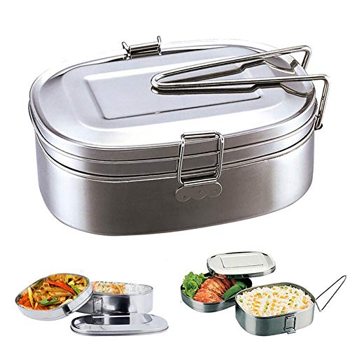 Dubbele lagen Bento Lunch Box Student RVS voedsel opslag container - Extra groot Extra Large 1 exemplaar