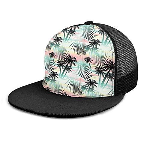 VJSDIUD Gorra de béisbol Hawaii Palmeras Hojas de Helecho exóticas Unisex Impresión 3D Gorras Snapback Sombrero de Malla Ajustable Sombreros de Camionero
