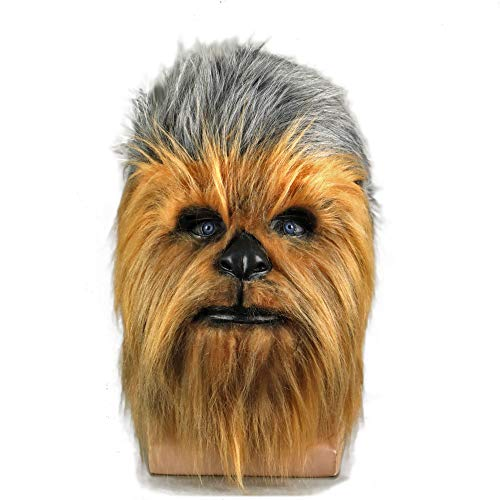 Gankchen ST Wars Wookiees Chewbacca Cosplay Mask Full Head Latex Mask with Wigs Hair Brown