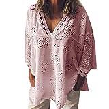 ZEFOTIM Women Half Sleeve Cotton Linen Hollow Out Lace Patchwork T-Shirt Blouse Tops(Pink,XX-Large)