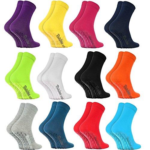 Rainbow Socks - Damen Herren Bunte Baumwolle Antirutsch Socken ABS - 12 Paar - Weiß Blau Blau Marine Schwarz Rot Lila Blau Orange Pink Grau Grün Gelb - Größen EU 44-46