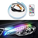 Flexible Car LED Strip Light - 2 Pcs 17.71 inch RGB Waterproof Lighting Kit - Daytime Running Lights and Turn Signal Light Switchback Sequential - for Automobile Headlight Surface Strip Lights Tube