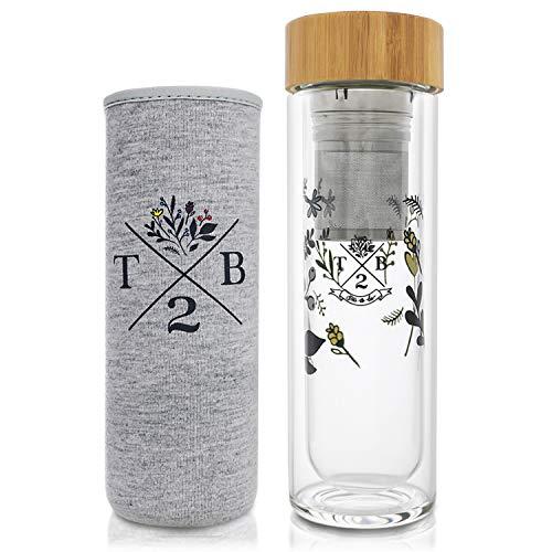 Teeflasche mit Sieb to go – Blumenmotiv | 400 ml Eistee Flasche, Detox Flasche & Fruit Infuser | Trinkflasche Glas doppelwandig | Teebereiter + Neoprenhülle grau T2B