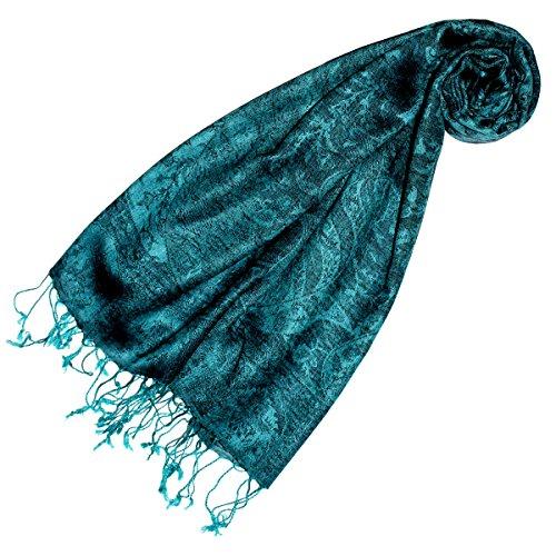 Lorenzo Cana - Pashmina Damen Schal Schaltuch hochwertig kuschelweich und leicht Damenschal Stola 70 cm x 180 cm opulentes türkis grün Paisleymuster aufwändig gewebt 78148