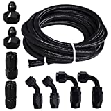 Universal 6AN 12Ft Braided Oil Fuel Line Hose Stainless Steel W/ 6PC AN-6 Swivel Hose Ends & 2PC AN-10 to AN-6 Fuel Tank Fitting Adapters Kit, Black