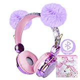 Kids Headphones Wireless POM POM Bear Ear 2021 Upgraded Bluetooth Headset w/Mic Adjustable Headband, Over On Ear Headset for Girls/Teens/School/Kindle/Tablet/PC (Bluetooth, Purple) (Purple)