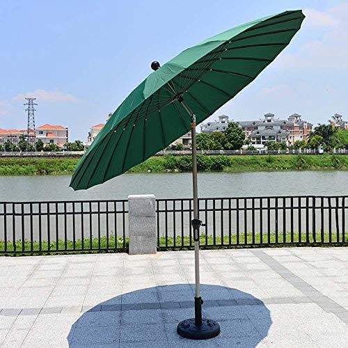 LJLYL Sombrilla, 10 pies de Tabla al Aire Libre Paraguas, Poste de Aluminio con 24 Costillas, con botón de inclinación/manivela Paraguas jardín, Patio Trasero para la Playa,Verde
