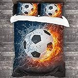 AIMILUX Funda Edredón,Balón de fútbol de Alta resolución en Imagen de Fuego y Agua para un Juego de Pelota de fútbol Imprimir,Ropa de Cama Funda Nórdica,1(240x260cm)+2(50x80cm)