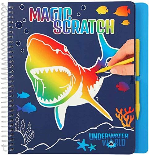 Depesche- Libro para Colorear Magic Scratch Book, Dino World Underwater, Aprox. 20 x 19,3 x 2 cm. (11079)