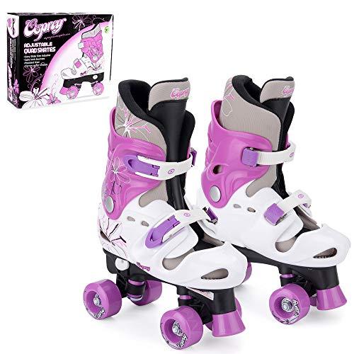 Osprey Roller Skates für Mädchen – klassische, zweispurige Rollschuhe für Anfänger – größenverstellbare, bequeme Rollerblades mit verstellbaren Schuhschnallen – sicheres Design für Kinder - Violett