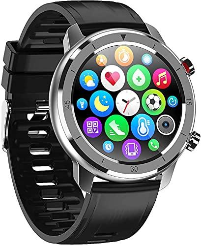QHG Seguimiento de Salud Pantalla táctil Redonda Completa Reloj Inteligente Ratón cardíaco Presión Arterial Fitness Tracker Sports Smart Recordatorio Reloj de Pulsera (Color : Blacksilver)