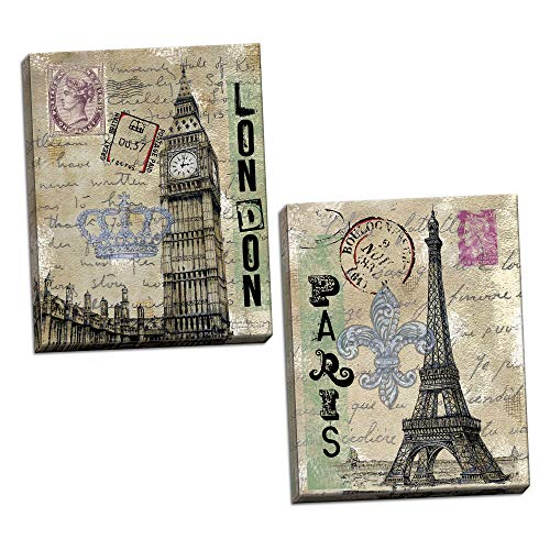 Gango Home Décor Vintage London Travel Set; Paris Eiffel Tower and London's Big Ben with Postcard Background; Two 11x14in Canvases