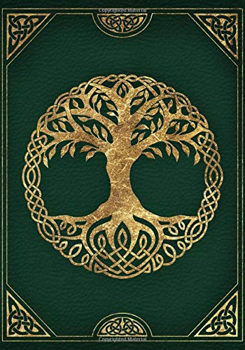 Tree Of Life: Blank Lined Book Of Shadows, Empty Travel Journal, Green And Gold Cover (7'x10', College Ruled, 110 Pages)