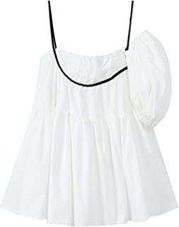 Wujianzzholyq ملابس الشاطئ للنساء، فستان بحزام صيفي لطيف لطيف فستان فضفاض للسيدات منفوخ بأكمام منفوخة (المقاس: كبير)