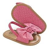 Carolilly Sandalias con punta abierta para recién nacidos de princesa, con suela plana antideslizante con lazo decorativo Lazo rosa 6 mes