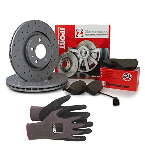 Inspektionspaket Zimmermann Sport Bremsen Set inkl. Bremsscheiben 312 mm und Bremsbeläge für vorne enthalten, 100% passend für Ihr Fahrzeug, inkl. Priner Montagehandschuhe, AN134