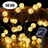 BrizLabs Solar String Lights, 50 LED 22.73ft Solar Globe String Lights Outdoor, 8 Modes Waterproof Solar Twinkle Lights with Memory, Warm White Indoor Ball String Lights for Patio, Wedding, Garden
