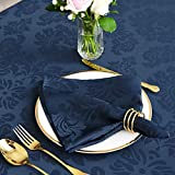 maxmill Jacquard Cloth Napkin 20 x 20 Inch Damask Pattern Solid Washable Polyester Dinner Napkins Set of 4 Pieces with Hemmed Edges for Holiday Dinners Weddings Parties and Banquets Navy Blue