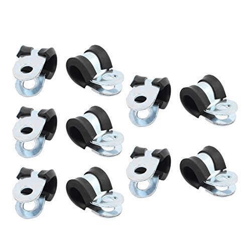 DealMux 10pcs 8 milímetros de diâmetro borracha com Shaped zincado Cachimbo braçadeiras Tubo Grampo R