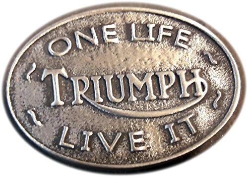 """Anstecknadel aus Zinn, für Motoradfahrer, mit der Aufschrift: """"Triumph One Life Live It"""""""