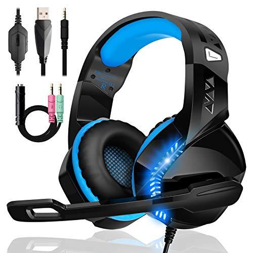 Cuffie Gaming per PS4 PS5 Xbox One, Upgraded Bassi Stereo Cuffie Over Ear con Microfono Condensatore Riduzione Del Rumore 50mm Driver LED per PC Mac