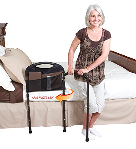 Stander Mobility Rail, Senior Bed Rail and Assist Bar with Swing-Out Mobility Arm and Organizer Pouch