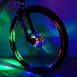 Sarissa Bicycle Hub Light, Safety Waterproof Bike Wheel Lights LED Cycling Spoke Rim Light for Kids Adults Night Riding (Colorful, 2 Pack)