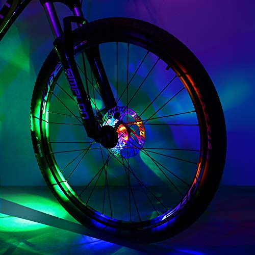 Sarissa Bicycle Hub Light, Safety Waterproof Bike Wheel Lights LED Cycling Spoke Rim Light for Night Riding(Colorful,1 Pack