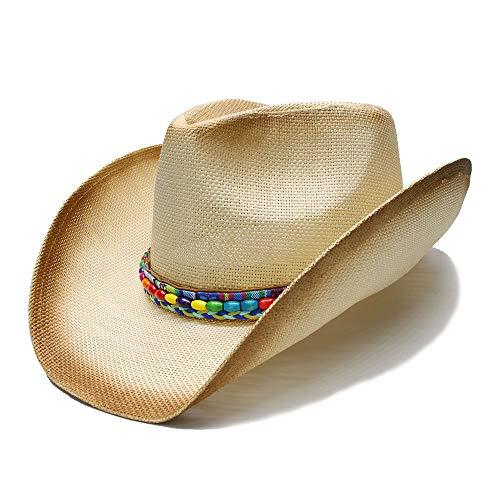 XXY Western-Cowboy-Hut für Frauen mit farbiger Perlenkette (Farbe : Natürlich, Größe : 58 cm)