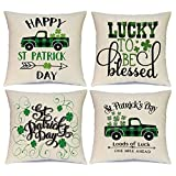 St Patrick's Day Pillow Covers Set of 4 18x18 Inch Shamrock Happy St Patrick's Day Decorations Green Clover Buffalo Plaid Lucky Truck Decorative Pillow Cases Throw Cushion Covers (18x18 Inch)