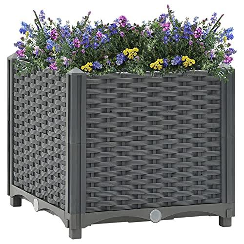Tidyard Arriates de Jardín Jardineras Exterior Patio Macetero Flores Bandeja Plantas para Terraza Balcón Porche Polipropileno 40 x 40 x 38 cm