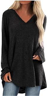 Women Plus Size V Neck Blouse Fashion Long Sleeved T-Shirt Tops E-Scenery