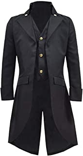 Mens Black Gothic Tailcoat Jacket Steampunk Victorian VTG Halloween Costume Long Coat