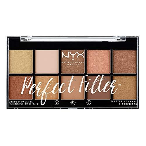 NYX Professional Makeup Perfect Filter Shadow Palette - Lidschattenpalette mit 10 intensiven leuchtenden Farbtönen, 17,7g, Golden Hour 01