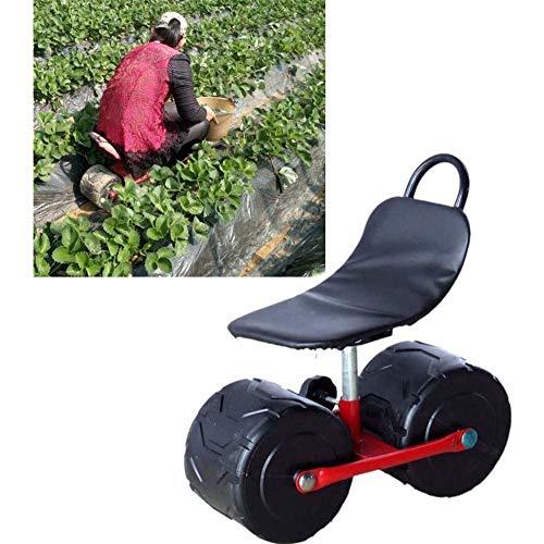 LIULIU Roller Rollwagen für Garten mit Sitz, Gartenhocker mit großen Rädern, Rasen/Gericht/Außenpatio Servierwagen Scooter für die Pflanzung/Landwirtschaft