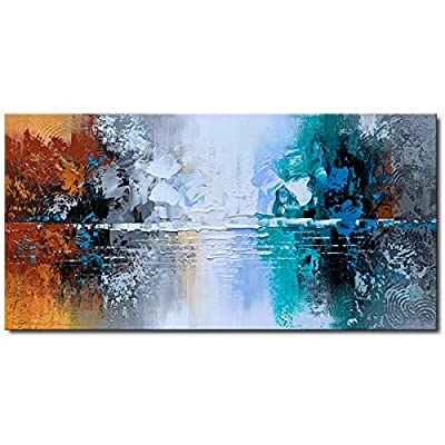 Hand Painted Oil Painting on Canvas Lake Landscape Wall Art Modern Abstract Home Decor from Winpeak Art