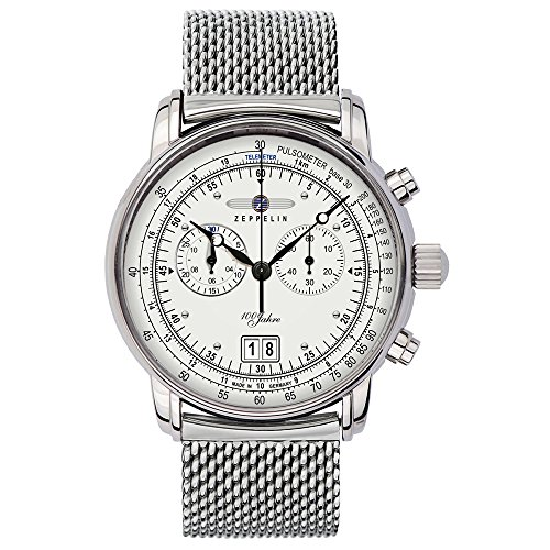 Zeppelin Herren-Armbanduhr 100 Jahre Chronograph Quarz Edelstahl 7690M1
