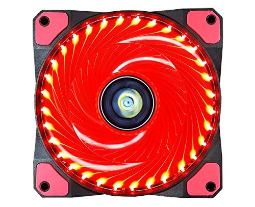 conisy Gehäuselüfter 120mm Ultra Silent PC Lüfter mit LED Licht für Computer Gehäuse (Single,Rot)